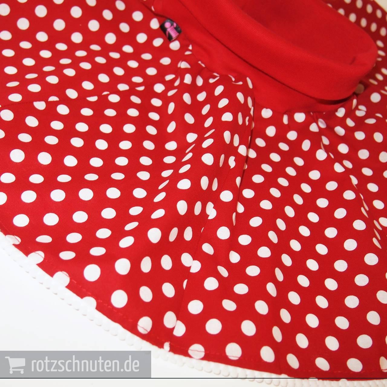 Tellerrock rot mit weißen Punkten Größe 140//152
