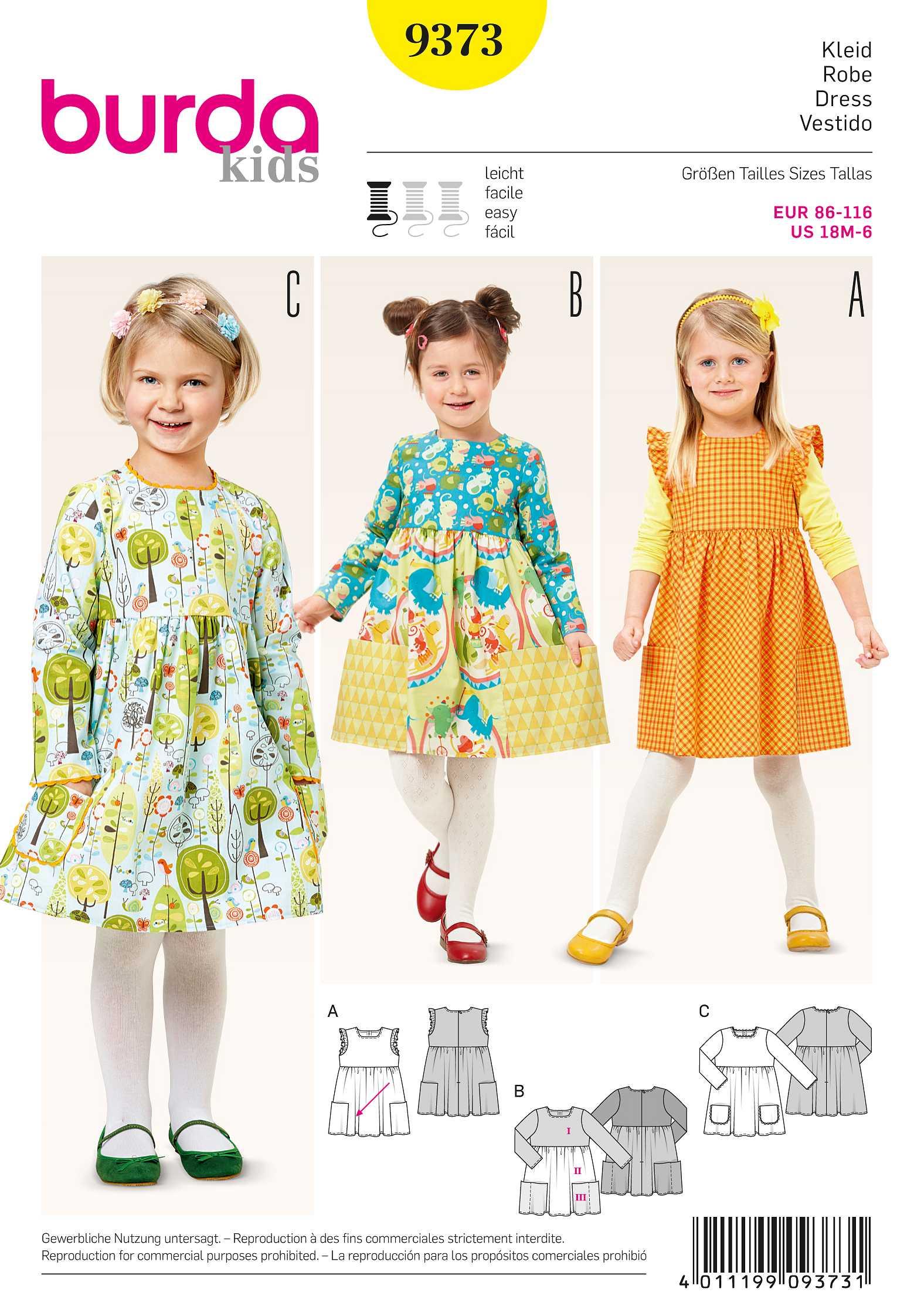 Schnittmuster Burda 9373 - Kleid Gr. 86 - 116 | Rotznasen