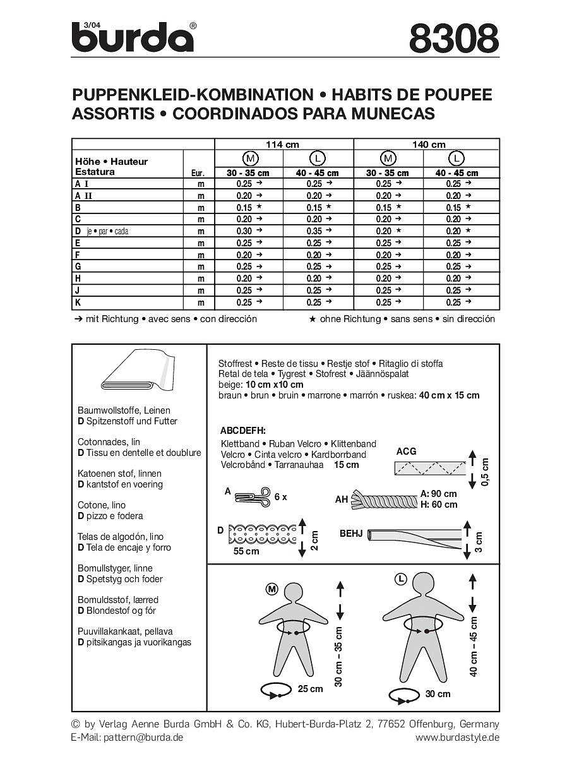 L 40-45 cm Burda Schnittmuster 8308 Puppenkleider in 2 Gr??en M 30-35 cm